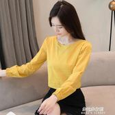 棉麻上衣 長袖t恤女裝秋裝新款韓版百搭寬鬆早秋天棉麻上衣蕾絲打底衫  朵拉朵衣櫥