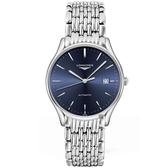 LONGINES 浪琴 Lyre 琴韻系列機械錶-藍x銀/38mm L49604926