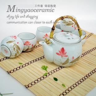淡雅 荷花7件茶具套裝