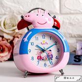 小鬧鐘創意時鐘鬧鈴數字床頭可愛兒童卡通靜音鐘表擺件學生用豬豬