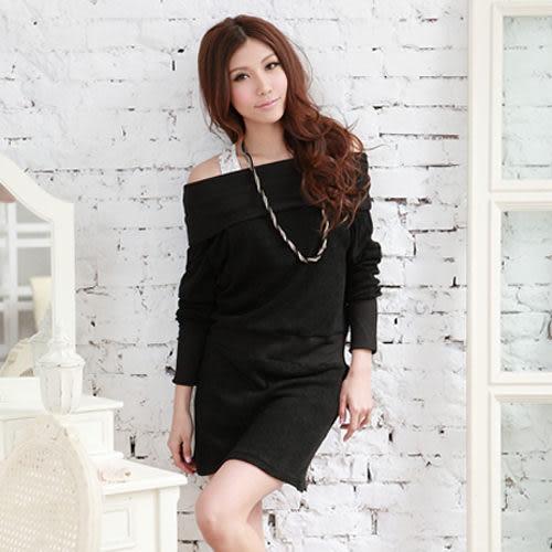 洋裝--化身性感可人兒-韓系一字領收腰連身裙洋裝(黑.藍M-2L)-A82眼圈熊Ringbear