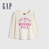 Gap女幼童 布萊納系列 純棉印花褶皺長袖T恤 731839-象牙白