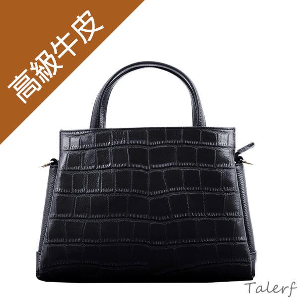 TALERF質感壓紋兩用牛皮提包(黑色) /多功能 百搭 真皮 牛皮 皮包 包包