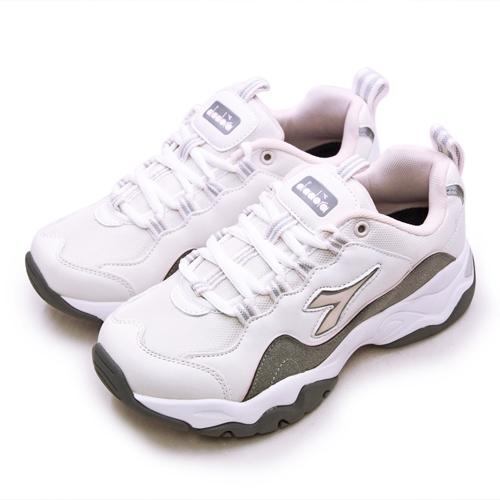 LIKA夢 DIADORA 迪亞多那 復古時尚厚底運動鞋 潮流老爹鞋系列 米灰粉 33616 女