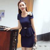 女神職業套裝  職業裝套裝女裝短袖正裝工裝珠寶店美容師工作服套裙 『歐韓流行館』