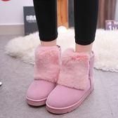 中筒雪靴-時尚簡約舒適保暖女平底靴子4色73kg44[巴黎精品]