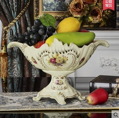 設計師美術精品館歐式裝飾品果盤創意時尚陶瓷大號水果盤套裝宜家擺設客廳茶几田園【12寸】