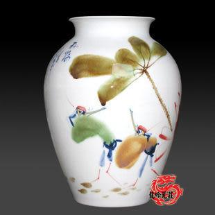 景德鎮陶瓷器手繪青花釉裏紅窯變釉花瓶