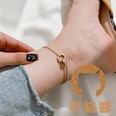 雙環羅馬數字腳鏈女輕奢18k玫瑰金氣質時尚性感【宅貓醬】