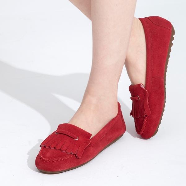 G.Ms. 牛麂皮減壓豆豆底流蘇莫卡辛鞋-紅色