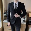 韓版修身西服套裝男士黑外套帥氣休閒小西裝伴郎新郎結婚正裝潮流 黛尼時尚精品