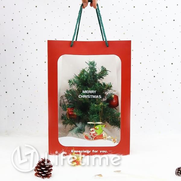 ﹝聖誕透明手提紙袋﹞正版 禮物包裝 提袋 娃娃提袋 聖誕 耶誕 送禮〖LifeTime一生流行館〗