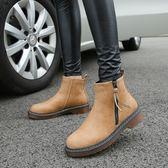 短靴女 馬丁靴 秋冬季新款平底英倫女靴短筒潮流女士短靴韓版女鞋子《小師妹》sm3307