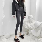 新款夏季2021韓版緊身小腳褲高腰鉛筆褲子顯瘦九分褲黑色牛仔褲女 夏季新品