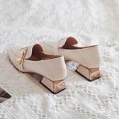 樂福鞋 粗跟單鞋女鞋新款春季網紅高跟鞋春秋英倫風小皮鞋中跟樂福鞋 【母親節特惠】