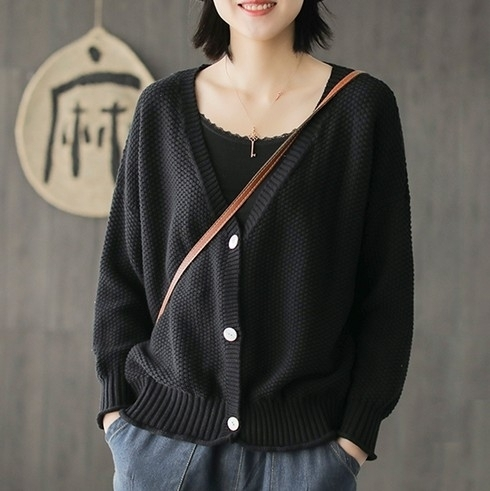 EASON SHOP(GW3278)粗毛線小格紋短版針織外套 純色 排釦 捲邊 V領 長袖 寬鬆 閨蜜裝