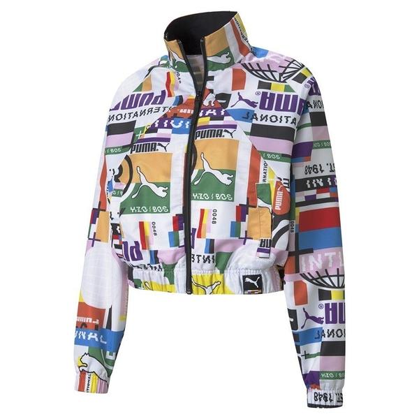 PUMA PI 女裝 外套 立領 風衣 短版 休閒 街頭 滿版 印花 歐規【運動世界】53024202