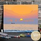 數字油畫diy海邊日出手工填色客廳玄關裝飾油彩風景畫【白嶼家居】