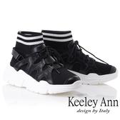★2018秋冬★Keeley Ann經典美型~襪子式中筒綁帶休閒鞋(黑色) -Ann系列