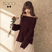 東京著衣【YOCO】lazy女孩鬆高領前短後長兩穿針織上衣-S.M.L(171983)