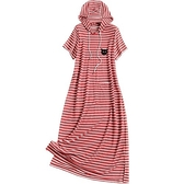 短袖洋裝-連帽抽繩條紋開叉女連身裙2色73yd18【時尚巴黎】