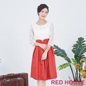 【RED HOUSE 蕾赫斯】蕾絲蝴蝶結洋裝(紅色)