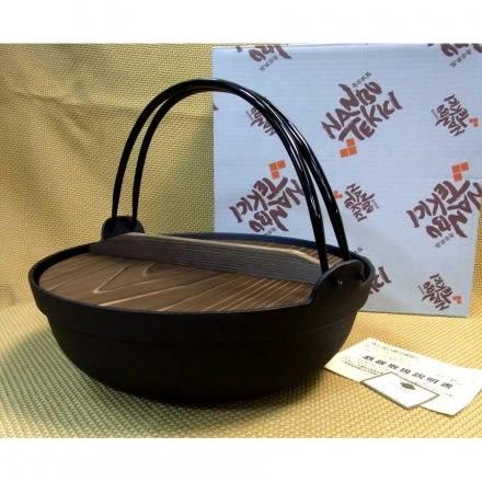 日本南部鐵器【圍爐鍋 27cm 附杉木蓋 鳳文堂】懸掛手提鐵鍋 彎把燉煮鍋火鍋