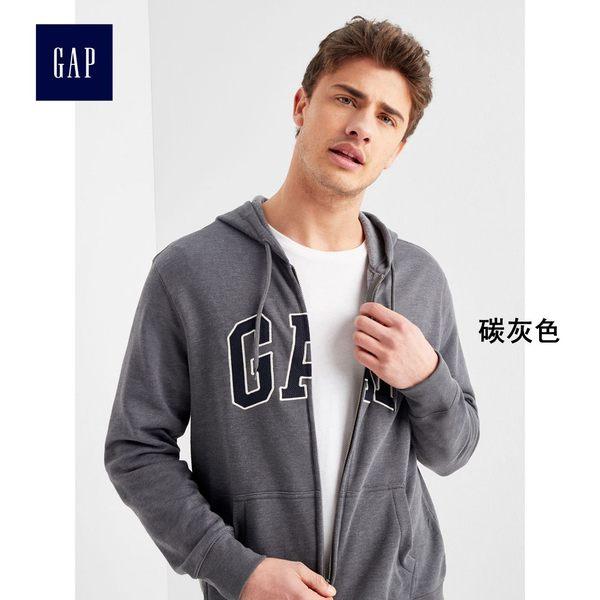 Gap男裝 LOGO男士連帽休閒外套 長袖刷毛開襟上衣男 851516-碳灰色