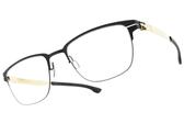 Ic! Berlin光學眼鏡 THE LONE WOLF SE BLACK MATT GOLD (霧黑-金) 薄鋼眼鏡 # 金橘眼鏡