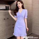 紫色荷葉邊魚尾裙子女夏裝收腰顯瘦a字短裙法式修身v領氣質洋裝 618購物節