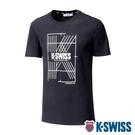 K-SWISS Stripe K Logo Tee棉質吸排T恤-男-黑