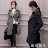 春秋新款韓版中長款修身顯瘦大碼女士風衣雙排扣格子大衣外套 可然精品