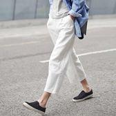 夏新款韓版闊腿九分褲女亞麻直筒褲寬鬆