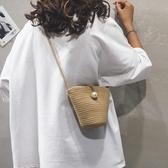 森系編織水桶包包女包新款2020夏天草編包跨包韓版百搭單肩斜背包 陽光好物