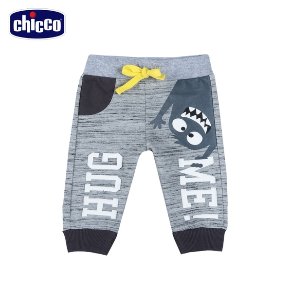 chicco To Be BB-怪獸拼接花紗束口長褲