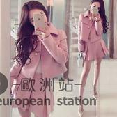 套裝/裙秋裝毛呢休閒短裙粉色小香風時尚顯瘦冬兩件套裙子