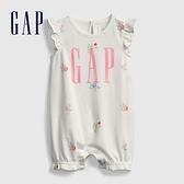 Gap嬰兒 Logo荷葉邊袖連身衣 681807-白色