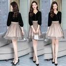 七分袖洋裝 2020秋裝新款氣質修身顯瘦V領金絲絨拼接網紗連身裙女收腰A字裙 零度3C