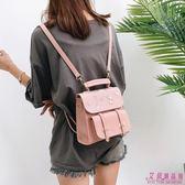 後背包 蕾絲刺繡雙肩背包包皮帶裝飾手提包學院風背包(4色)