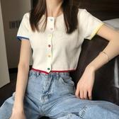 短袖針織上衣 夏季正韓白色短袖T恤女針織開衫短款百搭上衣 Ballet朵朵