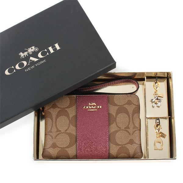 COACH 珠光皮革手拿包禮盒