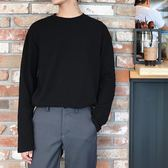 長袖T恤男潮流打底衫韓版寬鬆黑色百搭上衣【聚寶屋】