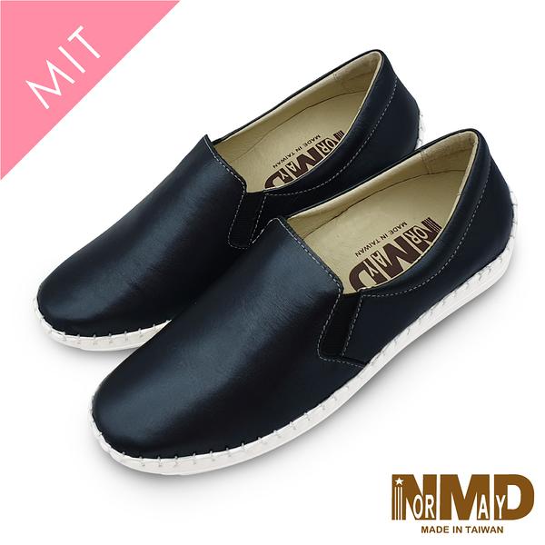 真皮休閒鞋 懶人鞋 個性素面純色真皮球囊氣墊懶人鞋-MIT手工鞋(銀灰黑) Normady 諾曼地