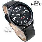 KEZZI珂紫 三眼造型數字指針錶 高質感 皮革錶帶 防水手錶 男錶 黑色 KE1538黑