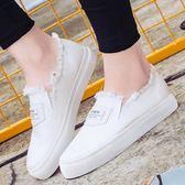 韓版小白鞋女2019夏季新款懶人平底布鞋學生百搭休閒帆布鞋一腳蹬