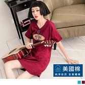 《KG1135-》美國棉.美式LOGO印花長版上衣 OB嚴選
