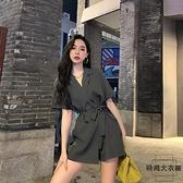 西裝領連身褲女夏裝收腰顯瘦系帶闊腿短褲裙子【時尚大衣櫥】