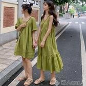 2019夏季新款法式桔梗復古連身裙牛油果綠色吊帶裙子仙女超仙森擊聖誕交換禮物