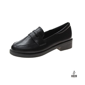 一腳蹬粗跟皮鞋女英倫風時尚百搭素色單鞋【愛物及屋】