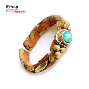 藏飾民族風三色銅鑲石戒指